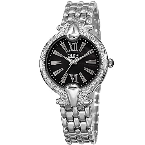 Burgi Women's Black Mother-of-Pearl Dial with Swarovski Crystal Accented Silver-Tone Bezel on Silver-Tone Stainless Steel Bracelet Watch BUR163SSBK
