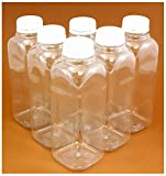16oz Clear Plastic PET Bottles w/White Tamper-evident Caps (6 pack) for ...