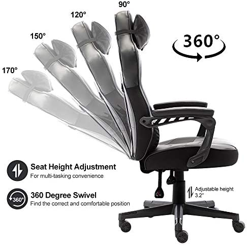 Bonzy Home Gaming Chair Office Chair High Back Computer Chair PU Leather Desk Chair PC Racing Executive Ergonomic Adjustable Swivel Task Chair with Headrest and Lumbar Support (Black) 51N21Q5N58L