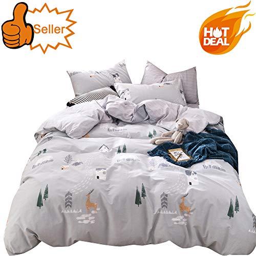 OTOB 3 Piece Kids Twin Bedding Sets for Boys Cartoon Deer Print Elk Duvet Cover Set with Pillowcases 100% Cotton Reversible Lightweight Soft Child Girls Dot Bedding Duvet Cover Bed Sets, Twin (Bed Deer Set)