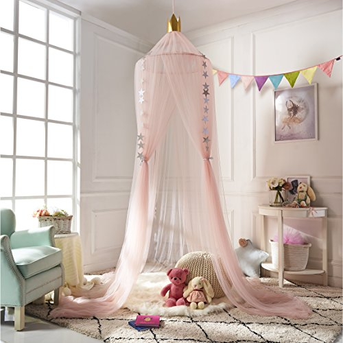 (A LOVE BRAND Mosquito Net Bed Canopy Round Lace Dome Netting Hanging Curtains Princess Play Tent Bedding for Kids Indoor Playing Reading Games House Pink)