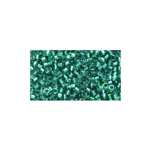Teal Delica Beads - Miyuki Delica Seed Bead 11/0 DB1769, Aqua Green Line Teal Aurora Borealis Finish, 9-Gram/Pack