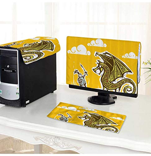 Leighhome Computer dustproof Three-Piece eBrave Knight with Sword and Shield in Steel Armour Fighting Against Drag with Win for LED LCD Screens Flat Panel HD Display /32