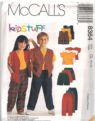 Childs Boys Girls Lined Boxy Vest Knit T Shirt Pull On Pants Shorts Sewing Pattern McCall 8364 Kidstuff (6-7-8) (Vest Sewing Lined)