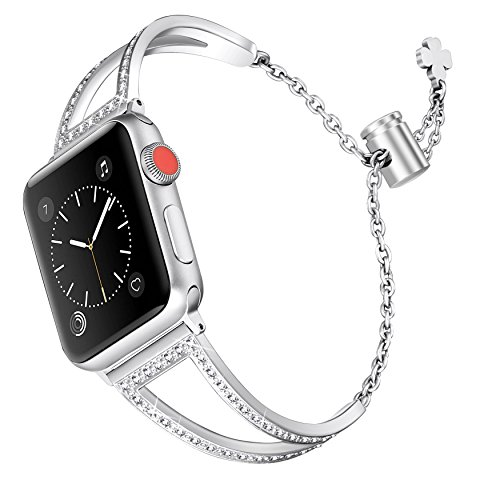 Secbolt Bling Bands Compatible Apple Watch Band 38mm 40mm Iwatch Series 4/3/2/1, Women Stainless Steel Metal Jewelry Bracelet Bangle Wristband, Silver