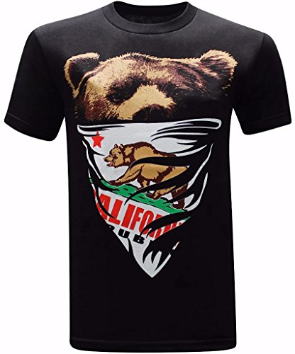 (tees geek California Republic White Bandana Bear Men's T-Shirt - (X-Large) - Black)