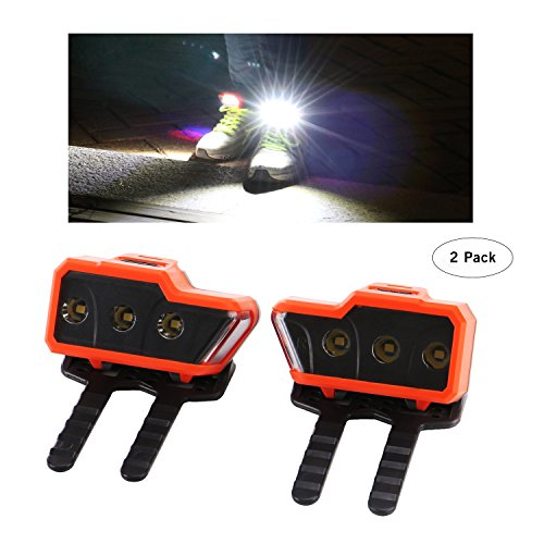 Greensyi LED Safety Lights (2pack) for Running Shoes with Three Bright Leds and One Side Warning light, Good for Night Running, Walking, Hiking, Cycling. by Greensyi