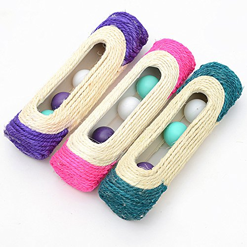 OWIKAR Cat Toys Sisal Rope Woven Scratch Toy with Ball Trapped Ball Training Cat Catch Sisal Toys Hollow Column with Three Balls Cat Scratch Barrel Pink Purple Dark Green Random Color(1 Pack) ()