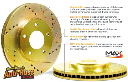 Max KT011561 Front Gold Slotted & Cross Drilled Rotors and Ceramic Pads Combo Brake Kit