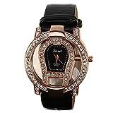 ELEOPTION Classic Rose Gold Rhinestone Quartz Watch with Luminous Design Analog Wristwatches Calfskin Leather Strap (Black)