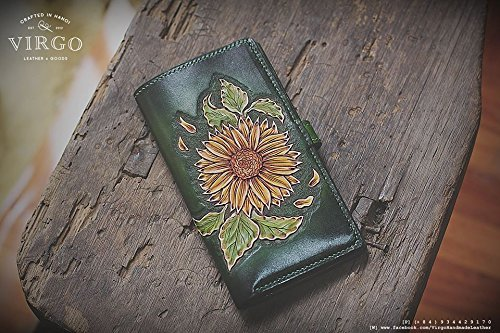 Sunflower hand tooled/ hand carved wallet for women by Virgo Handmade Leather