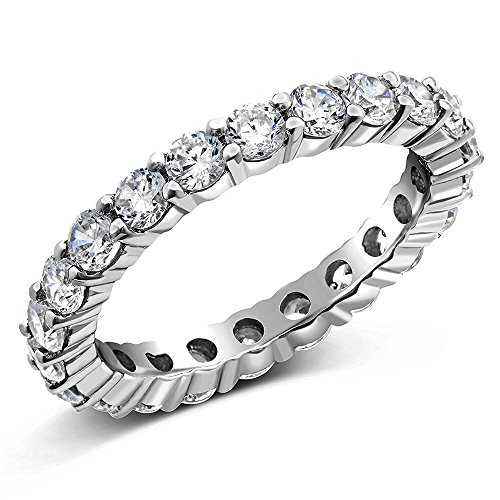 Orostar 3.00mm Sterling Silver 925 Round Cut Cubic Zirconia Eternity Engagement Wedding Band Ring ()