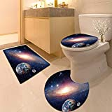 HuaWuhome 3 Piece Shower Mat Set Astrology Astronomy e h Moon Big Bang Solar System Planet Creation Customized