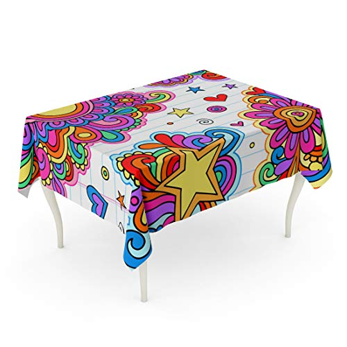 Semtomn Rectangle Tablecloth Flower Groovy Psychedelic Doodles on Lined Sketchbook Hippy Heart 60 x 90 Inch Home Decorative Waterproof Oil-Proof Printed Table Cloth