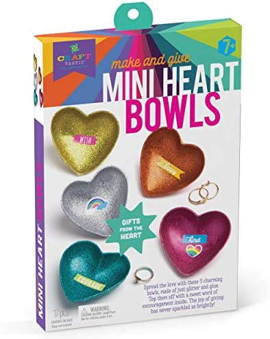 Craft-tastic - Mini Heart Bowls - Craft Kit Makes 5 Heart-Shaped Glitter Bowls to Decorate & Share