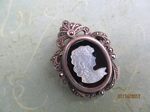 Stunning True Vintage Sterling Silver 925 Onyx Cameo Pin/Pendant,Something Old Bridal Gift, Mother of the Bride Gift,925 Onyx Marcasite Cameo Pin (Chardonnay Silver)
