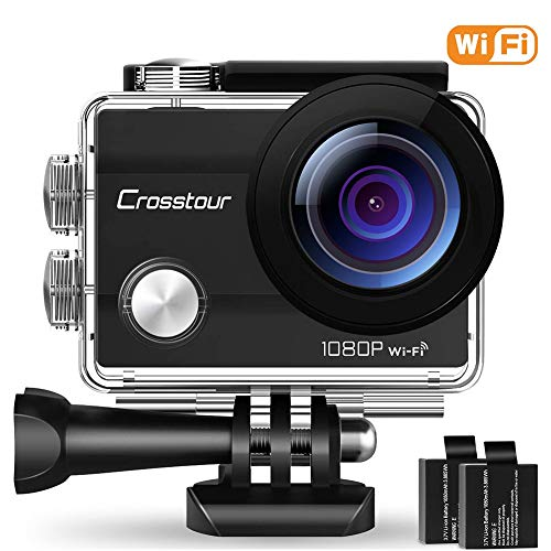 """Crosstour WiFi Action Camera Full HD 1080P Underwater Cam 2"""" LCD Screen Waterproof 30M 170° Wide-Angle Sports Camera with 2 Rechargeable 1050mAh Batteries and 20 Mounting Accessory Kits by Crosstour"""