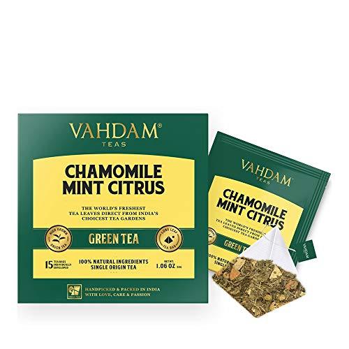 VAHDAM, Chamomile Tea with Mint & Citrus (30 Tea Bags) | LOW CAFFEINE, SLEEP TIME TEA | Calming & Relaxing Green Tea Blend | 100% Natural Detox Chamomile Tea Bags for Night Time | Brew Hot or Iced Tea