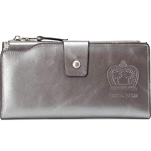 Ladies Large Clutch Wax Leather Wallet. For Classy Women at Clearance Prices (silver)