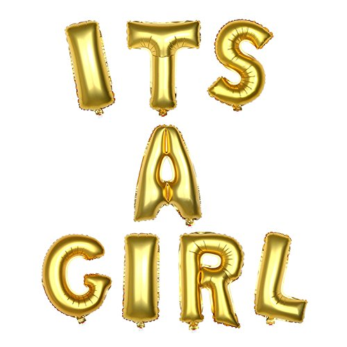 Anmas Home 16inch Gold Foil Mylar Balloon ITS A Girl Letter Banner for Baby Shower Decoration ()