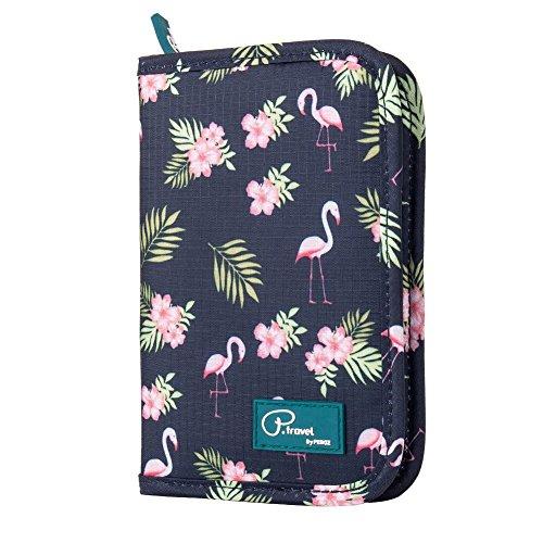 Passport Wallet Holder for Men&Women,RFID Blocking Travel Waterproof Credit Card&Money Bag Multifunctional Family Zipper Passport Case Electronic Accessories Storage Organizer (Flamingo)