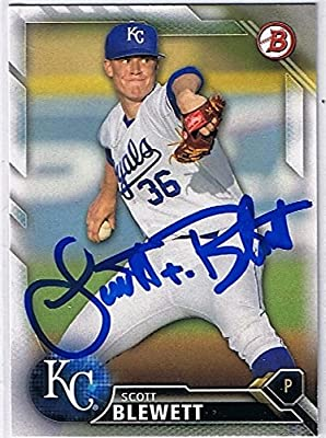 Scott Blewett Signed 2016 Bowman Prospects #BP126 Kansas City Royals Autograph Card