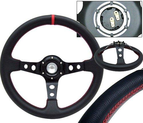 Drift Wheel (Deep Dish Drift Spec Steering Wheel 350mm - Whole Black & Red Stitch)