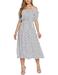 Women Sexy Off-Shoulder Polka Dot Half Sleeve Casual Long Maxi Dress