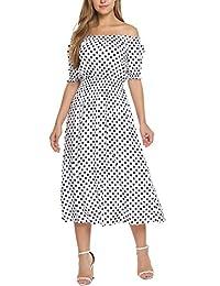Meaneor Women Sexy Off-shoulder Polka Dot Half Sleeve Casual Long Maxi Dress