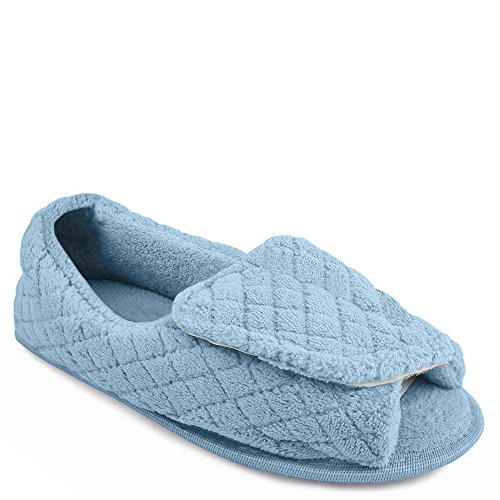 MUK LUKS Micro Chenille Adjustable Women's Slipper (8-9 B(M) US, Light Blue)