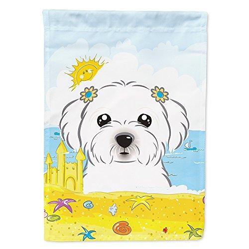 Caroline's Treasures BB2076GF Maltese Summer Beach Garden Flag, Small, Multicolor