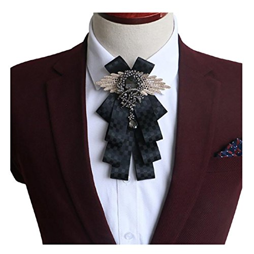 YanLen Groomsman Bridegroom Mens Bow Tie Fashion Bow Tie For Wedding Party (Black grid)