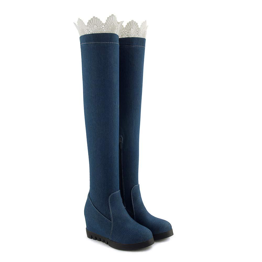 Denim-Gewebe-interne Zunahme der Frauen hoch über den Knie- Langen Stiefeln
