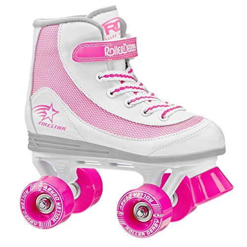 Roller Derby 1978-13 Youth Girls Firestar Roller Skate, Size 13, White/Pink