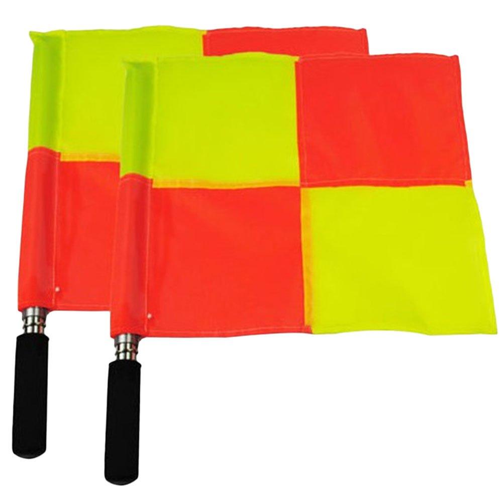 Chytaii 2pcs Banderines de árbitro Bandera de Árbitro Asistente Linesman para Fútbol Pequeña Bandera de Señal Mango de Espuma