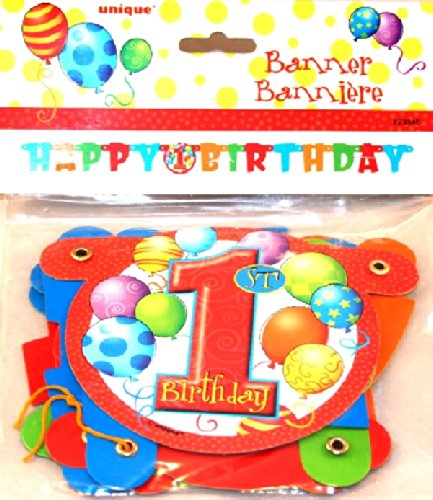 1st Birthday Balloons Jointed Paper Banner - Theme Party Sup