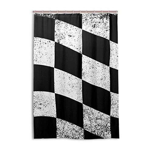 """LAVOVO Dirty Chequered Flag Black White Checked Pattern Fabric Resistant Waterproof Shower Curtain with 12 C-Rings, 48"""" By 72"""""""