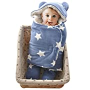 Baby Swaddle Blanket Sleep Sack - GreForest Thick Fleece Swaddling Blankets Seperated Legs Soft Warm For Bath, Air-conditioned, Autumn, Winter with Velcro, Cute Bear Ear Hood (Blue Star, 0-3 Months)