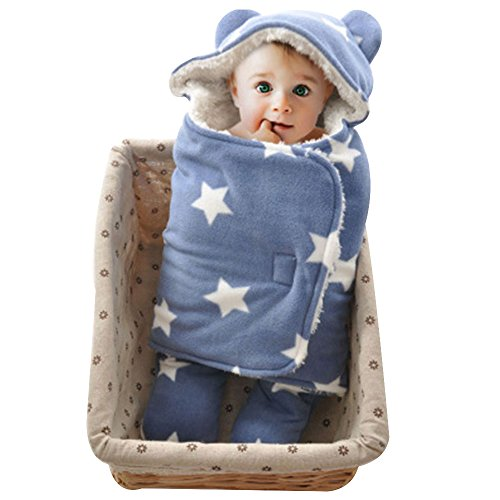 GreForest Baby Swaddle Blanket Blue Star Seperate Legs For Autumn and Winter 0-3 Months