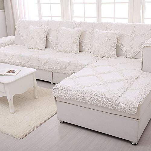 "SVIO-SOFACOVER Sofa Throw Covers Furniture Protector Cream White Winter Couch Cover Cotton Chenille Sofa Protector for All Season One Piece 35""x35"""