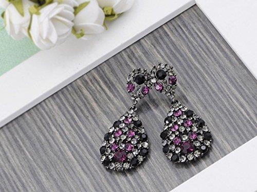 Purple Jet Clear Crystal Rhinestone Jewel Encrusted Dangle Tear Drop Earrings