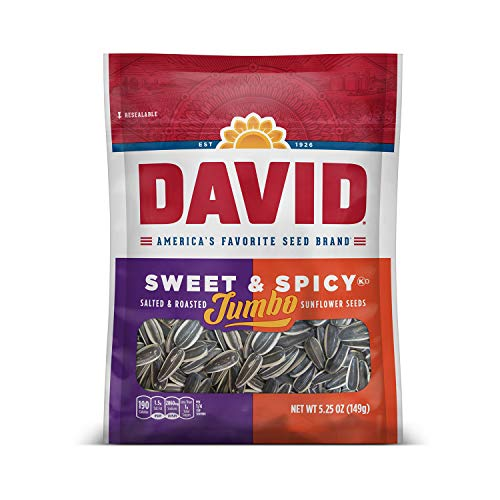 - DAVID Roasted and Salted Sweet and Spicy Jumbo Sunflower Seeds, 5.25 oz