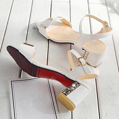 Angelof Sandales Femmes, Chaussure Talon Grande Taille Sandales Cheville Mi-Talon Femmes Escarpins Ouvert pour Mariage Fille Sandales Strass SoiréE Blanc