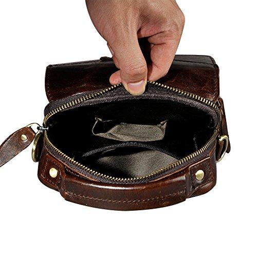 Genda 2Archer Pequeño Bolso Suave Genuino de la Correa de la Bolsa de la Cintura del Bolso del Tracolla Para los Hombres (16cm *7cm *20cm) (Estilo A Marrón) Estilo A Café