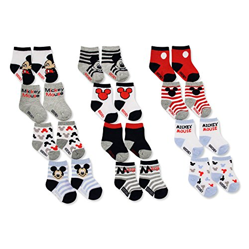 Disney Baby Boys Mickey Mouse Character Assorted Color Socks, 12 Pair Set, Age 0-24 Months