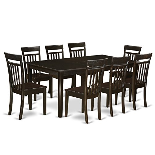 (East West Furniture HECA9-CAP-W 9-Piece Dining Table Set)