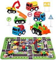 "Construction Toys with Play Mat, Engineering Vehicles Set Include 6 Construction Trucks, 4 Road Signs, 14"" x 18"" Playmat,..."