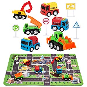 """Best Epic Trends 51N27Gg9lbL._SS300_ Construction Toys with Play Mat, Engineering Vehicles Set Include 6 Construction Trucks, 4 Road Signs, 14"""" x 18"""" Playmat, Pull Back Car Toys, Toys for 3 4 5 Year Old Boys Toddle Kid"""