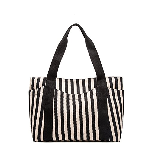 Sornean Striped Cotton Heavy Canvas Shoulder Hand Bag for Women, Zipper Top,with Outer Pocket (Black strips) (Striped Womens Handbag)