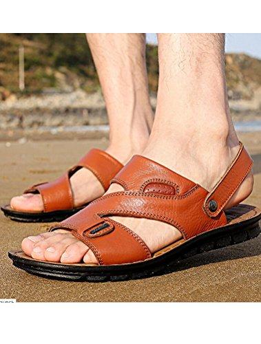 MatchLife - Sandalias de vestir de Material Sintético para hombre Style4-Yellow Brown